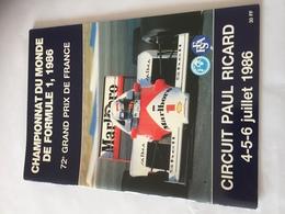 Programme OFFICIEL  Grand Prix De France F1 1986 - Automobile - F1