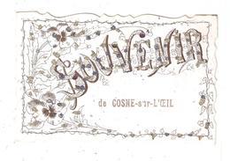 CPA Fantaisie  03 COSNE SUR L'OEIL Souvenir De Cosne Dessin Fleurs Paillettes Dorées Bleues Roses - Autres Communes