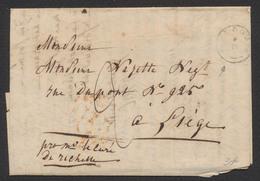 """Précurseur - LAC Datée Du Curé à Richelle En Avril 1842 + T18 Looz > Liège / Taxe """"2"""" - 1830-1849 (Independent Belgium)"""