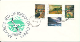 Tristan Da Cunha FDC 4-10-1976 Paintings Complete Set Of 4 With Cachet (light Hinged Marks On The Backside Of The Cover) - Tristan Da Cunha