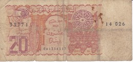 BILLETE DE ARGELIA DE 20 DINARS DEL AÑO 1983 (BANKNOTE) - Algérie