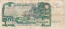 BILLETE DE ARGELIA DE 50 DINARS DEL AÑO 1977 (BANKNOTE) - Algérie