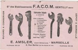 BUVARD FACOM OUTILLAGE GENTILLY SEINE - AGENT AMSLER MARSEILLE - Buvards, Protège-cahiers Illustrés