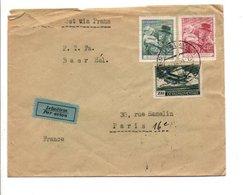 TCHECOSLOVAQUIE AFFRANCHISEMENT COMPOSE SUR LETTRE AVION POUR LA FRANCE 1938 - Czechoslovakia