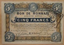 Roubaix - Tourcoing ( 59 ) 5 Francs 1917 Roubaix Et Tourcoing, Onzième Série - Chambre De Commerce