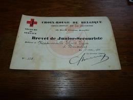 Diplome Croix-Rouge De Belgique 1935 Brevet De Jeune Secouriste 22x14cm - Diplomi E Pagelle