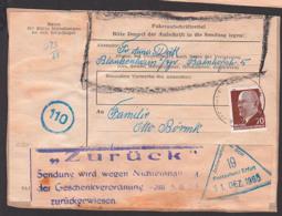 """Germany Paketaufkleber Blankenburg Mit """"Zurück""""-Zettel Postzollamt Erfurt 31.12.65, Verstoss Gegen Geschenkverodnung - DDR"""