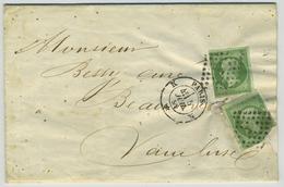LàC 1844 De Paris Pour Beaumes De Venise Envoyée Par La Caisse Franco-suisse. 2x N°12 Dont 1 Défectueux. Cachet Type 22. - Postmark Collection (Covers)