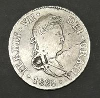 Cuba 2 Reales 1832 Resello Vique-Rejilla Fernando VII Ceca De Sevilla - Cuba
