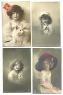 """Lot 4 CPA """" Portraits Petite Filles """" - Portraits"""