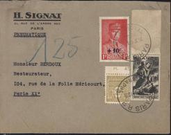 Pneumatique YT 494 Petain + 584 Secours National + 623 Arc Triomphe 2 Avec Bord De Feuille CAD Paris 26 X 44 Télégraphe - 1921-1960: Moderne
