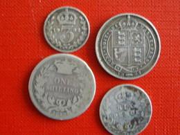 Lot De 4 Pièces En Argent Royaume Uni XIXème Et XXème Siècles - Grande-Bretagne