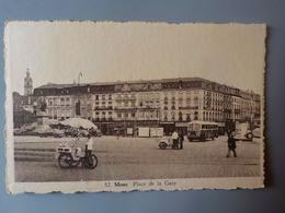 1951 CP Animée Mons Place De La Gare N° 82 Marchand Glaces Ambulant à Vélo Autocar - Mons
