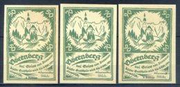 494-Obernberg Am Brenner Billets De 50,70 Et 90h 1920 Verts - Autriche
