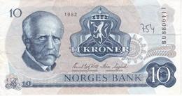 BILLETE DE NORUEGA DE 10 KRONER DEL AÑO 1982   (BANKNOTE) - Noruega