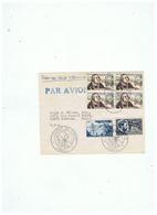 LETTRE  JOURNEE DU TIMBRE PARIS  17 03 1956  DEPART AVION POUR SANTA BARBARA CALIFORNIE U S A - 1950-1959