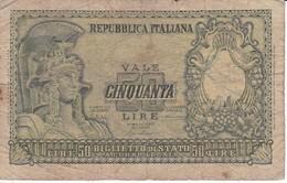 BILLETE DE ITALIA DE 50 LIRAS DEL AÑO 1951  (BANKNOTE) - [ 1] …-1946 : Reino