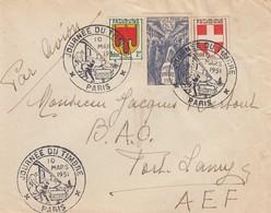 LETTRE. 1951 JOURNEE DU TIMBRE POUR FORT-LAMY          /       2 - Marcophilie (Lettres)
