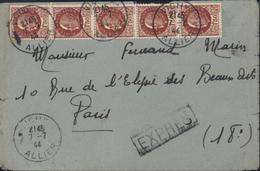 Lettre Exprès YT 517 X5 CAD Vichy 7 7 44 Tarif Du 5 1 1942 Arrivée Ambulant Vichy à Paris A 8 7 44 - Tarifas Postales