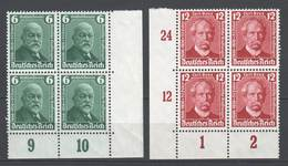 Drittes Reich , Nr 604-05 ,  Postfrische Viererblöcke - Ungebraucht