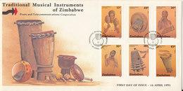 Zimbabwe FDC 16-4-1991 Traditional Musical Instruments Of Zimbawe Complete Set Of 6 With Cachet - Zimbabwe (1980-...)