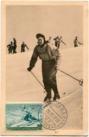 SAINT-MARIN CARTE MAXIMUM DU PA 100 SPORT D'HIVER AVEC OBLITERATION REPUBLICA DI S. MARINO 28-12-1953 * POSTE * - Ski