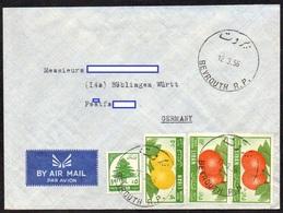 Libanon 1955 MiNr. 539, 559, 561 (2)  Zeder, Früchte     Auf Brief/ Letter In Die BRD - Lebanon