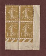 277 A/B  De  1931 - Neuf **  - Coin Daté De 4 Timbres - Type Semeuse Fond Plein . 1c. Bistre  - 2 Scannes - 1930-1939