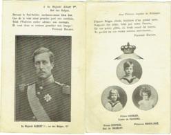 Roi Albert 1er Et Princes Charles Et Léopold Et Princesse Marie-Josée. Texte De Fernand Halley. Lot De 2 Cartes. - Familles Royales