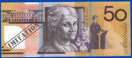 1 IMITATION DE BILLET UNIFACE SPÉCIMEN VRAIE FAUSSE MONNAIE NEUF PUBLICITAIRE FICTIF 50 AUSTRALIA SITE Serbon63 - Specimen