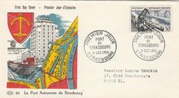 FDC Yvert 1080 Port De STRASBOURG 6/10/1956 - Illustration 1 - FDC