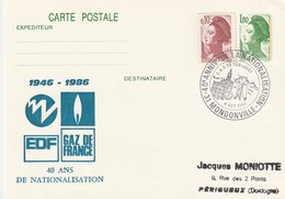 """Entier Repiqué De """"Mondonville - 31, Haute-Garonne"""" Du 04-10-1986, """"40 Ans EDF-GDF"""" Sur EP 2375 - Storia Postale"""