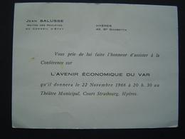 CARTE INVITATION 1966 : CONFERENCE De JEAN SALUSSE ( CONSEIL D' ETAT ) à HYERES ( VAR ) - Documents Historiques