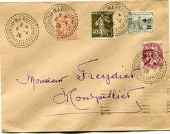 FRANCE LETTRE DONT AFFRANCHISSEMENT TYPE BLANC DEPART MARSEILLE 6-4-26 CONGRES PHILATELIQUE POUR LA FRANCE - 1900-29 Blanc