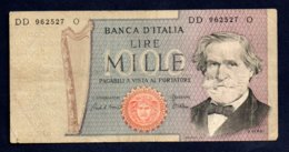 Banconota Italia - Lire 1000 G. Verdi 1969 - [ 2] 1946-… : Repubblica