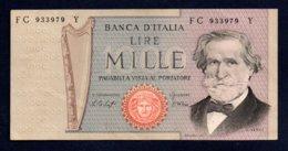 Banconota Italia - Lire 1000 G. Verdi 1977 - [ 2] 1946-… : Repubblica