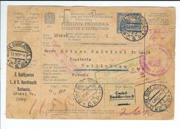 """CSR, 1922 ,parcel Card , Red Postmark  """"Franko """" Paid Cash !!  #a1276 - Czechoslovakia"""