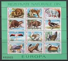 BLOC NEUF DE ROUMANIE - RESERVES NATURELLES D'EUROPE : FAUNE N° Y&T 192 - Timbres