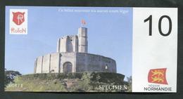 """Billet Fantaisie Normandie - Edition Privé """"Spécimen 10 Rollon / Tapisserie Bayeux / Gisors / 2018"""" - Fictifs & Spécimens"""