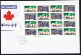 1980  O, Canada Centenary  Sc 857-8  Sheet Of 8 Each  SCS Cachet - Omslagen Van De Eerste Dagen (FDC)