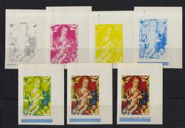 1971 Christmas Equatorial Guinea 7 IMPERF PROGRESSIVE PROOF Madonna Durer MNH** - Guinea Equatoriale