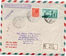 Busta Aerea Raccomandata Volo Speciale 3/9/58 Per Brasile  - Annullo Di Arrivo Al Retro( 227 ) - 6. 1946-.. Repubblica
