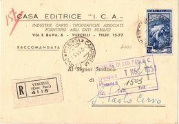 Cedola Libraria Raccomandata Da Casa Editrice I.C.A. A  Sindaco San Paolo Cervo( 227 ) - 6. 1946-.. Repubblica
