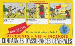 BUVARD   COMPAGNIES    D'ASSURANCES   GENERALES   21  X  13 BON ETAT  VOIR SCAN - Buvards, Protège-cahiers Illustrés