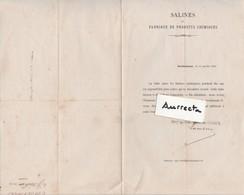 Courrier 1873 / Lutte Entre Les Salines Syndiquées / Tarif Inférieurs Pour Sels DeGouhenans / 70 Haute-Saône - 1800 – 1899