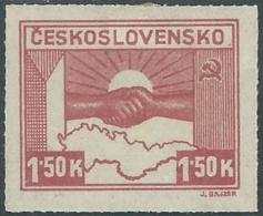 1945 CECOSLOVACCHIA AMICIZIA CON URSS 1,50 KR MH * - RC19-7 - Ungebraucht
