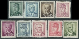 1945 CECOSLOVACCHIA PERSONALITA 9 VALORI MH * - RC19-5 - Cecoslovacchia