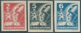 1945 CECOSLOVACCHIA SOLDATO SOVIETICO 3 VALORI MH * - RC19-7 - Cecoslovacchia