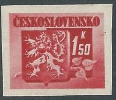1945 CECOSLOVACCHIA STEMMA E FRONDA DI TIGLIO 1,50 KR MNH ** - RC19-5 - Cecoslovacchia