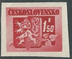 1945 CECOSLOVACCHIA STEMMA E FRONDA DI TIGLIO 1,50 KR MNH ** - RC19-6 - Cecoslovacchia